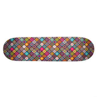 Colorful diamond tiled mandalas floral pattern skate deck