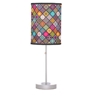 Colorful diamond tiled mandalas floral pattern table lamp