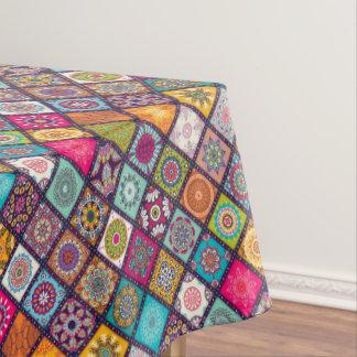 Colorful diamond tiled mandalas floral pattern tablecloth