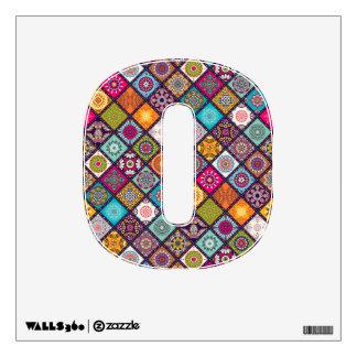 Colorful diamond tiled mandalas floral pattern wall decal