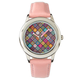 Colorful diamond tiled mandalas floral pattern watch