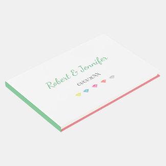 Colorful  diamonds confetti wedding guest book