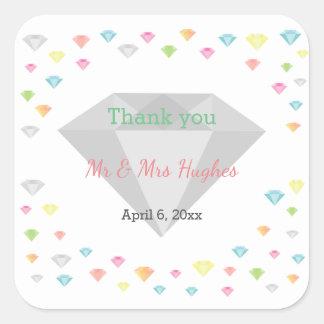 Colorful diamonds confetti wedding  thank you square sticker