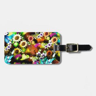Colorful Digital Flowers Bag Tag