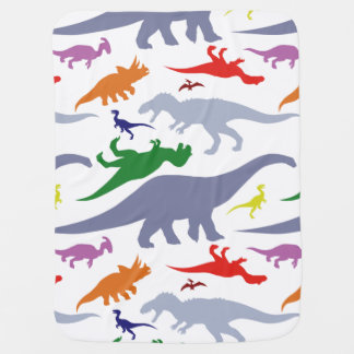 Colorful Dinosaur Pattern (Light) Baby Blanket