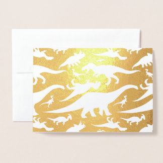 Colorful Dinosaur Pattern (Light) Foil Card