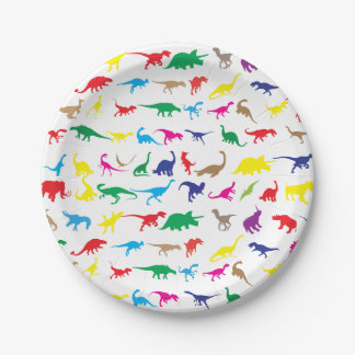 Colorful dinosaurs 7 inch paper plate
