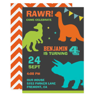 Colorful Dinosaurs Kids Birthday Party Invitation