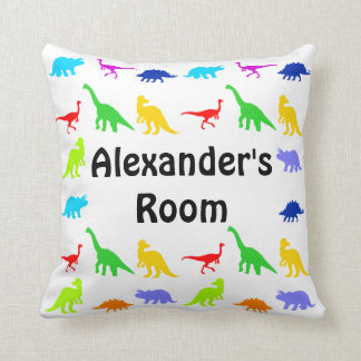 Colorful Dinosaurs Personalized Throw Pillows