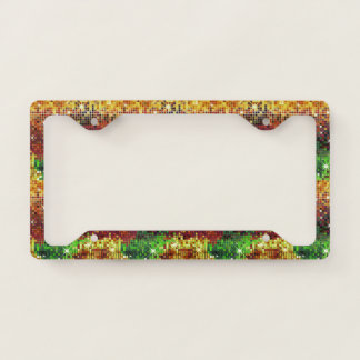 Colorful disco glitter 2 geometric pattern license plate frame