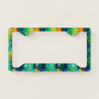 Colorful disco glitter geometric pattern licence plate frame