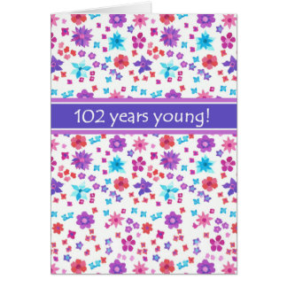 Colorful Ditsy Floral Age-specific 102nd Birthday Card