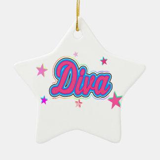 Colorful Diva Graffiti Art Ceramic Star Ornament