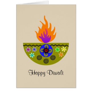 Colorful Diwali Lamp Diya Card