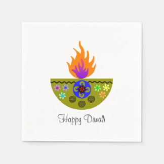 Colorful Diwali Lamp Diya Disposable Napkin