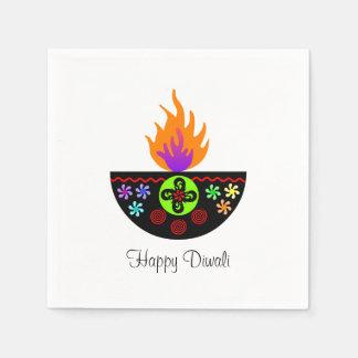 Colorful Diwali Lamp Diya Paper Napkin