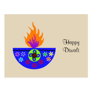 Colorful Diwali Lamp Diya Postcard