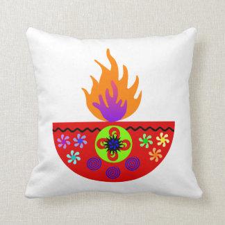 Colorful Diwali Lamp Diya Throw Pillow