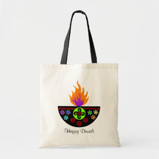 Colorful Diwali Lamp Diya Tote Bag