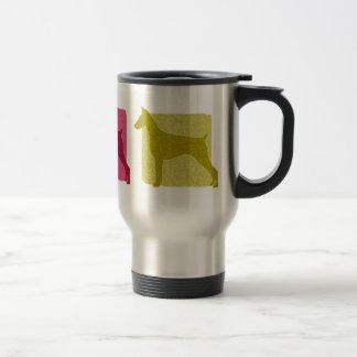 Colorful Doberman Pinscher Silhouettes Travel Mug