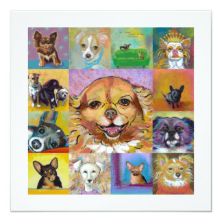 Colorful dog art contemporary paintings fun cards