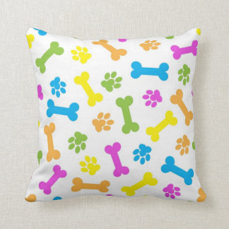 Colorful Dog Bones And Paw Prints Throw Pillow