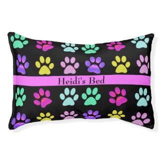 Colorful Dog Paw Prints Custom Dog Bed