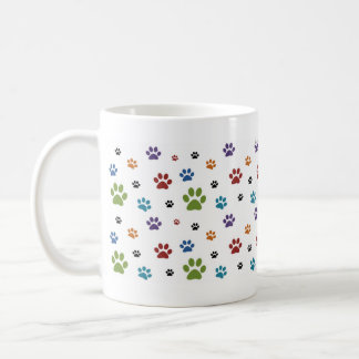 Colorful Dog Paw Prints Mug