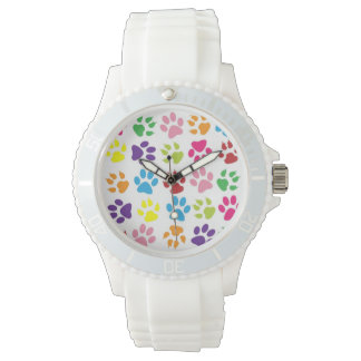 Colorful Dog Pawprints Design, Sporty White Watch