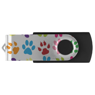 Colorful Dog Pawprints on White, USB Flash Drive