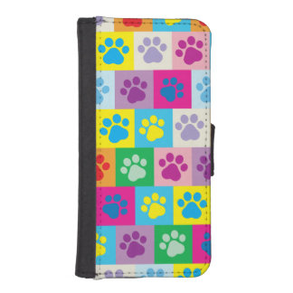 Colorful Dog Paws Patchwork Pattern iPhone SE/5/5s Wallet Case