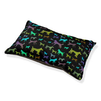 Colorful Dog Silhouette Pet Bed