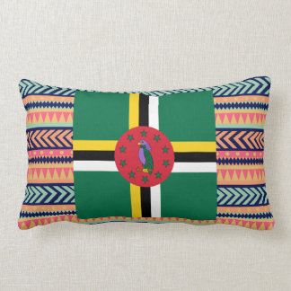 Colorful Dominica Flag Box Lumbar Pillow