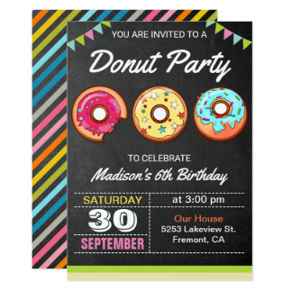 Colorful Donuts Kids Birthday Party Invitation