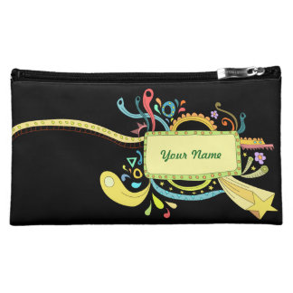 Colorful doodle art makeup bags