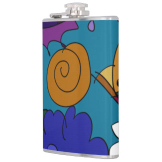 Colorful Doodle Art Personal Flask
