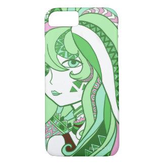 Colorful Doodle Design Cartoon Girl Green iPhone 7 Case