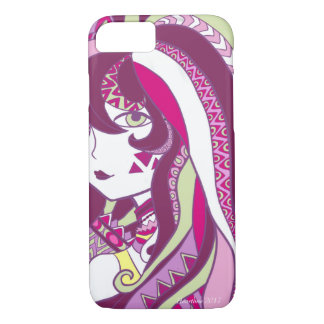 Colorful Doodle Design Cartoon Girl Purple iPhone 8/7 Case