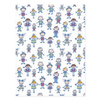 Colorful doodle kids pattern postcard