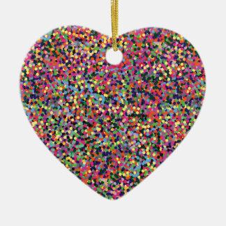 Colorful Dots Ceramic Heart Ornament