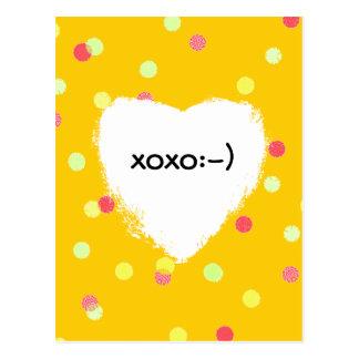 colorful dots & white heart shape xoxo smiley postcard