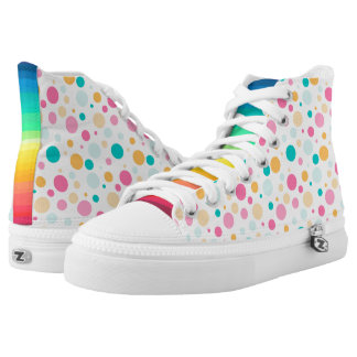 Colorful Dotted And Striped Zipz High Top Shoes