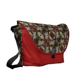 Colorful Dove Bird Pattern On Red Courier Bags