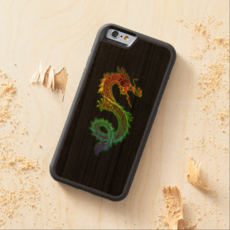 Colorful Dragon on Black Background Carved Cherry iPhone 6 Bumper Case