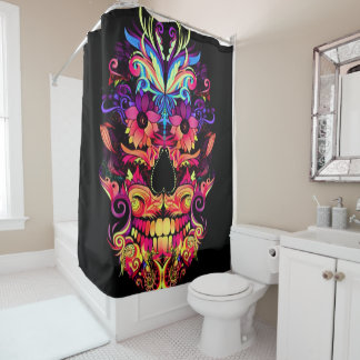 colorful dragon skull floral print shower curtain