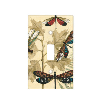 Colorful Dragonflies Floating Above Leaves Light Switch Cover