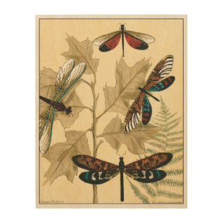 Colorful Dragonflies Floating Above Leaves Wood Wall Decor