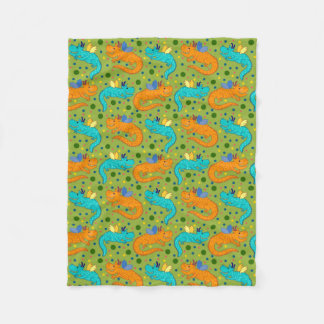 Colorful Dragons Fleece Blanket