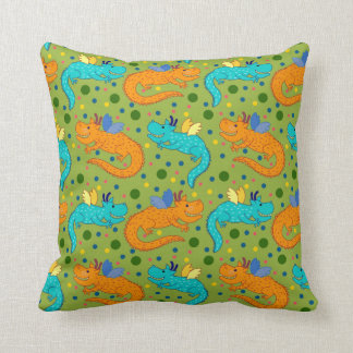 Colorful dragons throw pillow