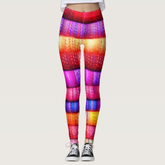 Colorful Dyed Fabric Layers Leggings